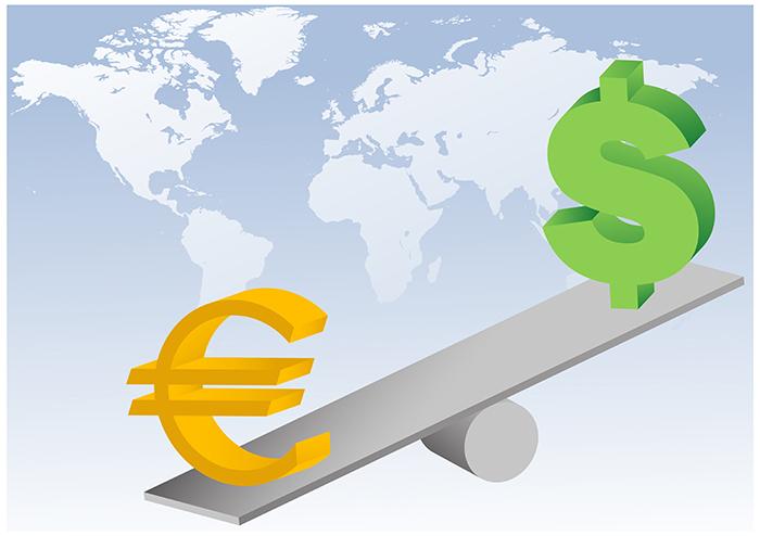 Euro ja dollarin symbolit