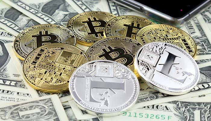Litecoin, USD dollarit ja Bitcoin
